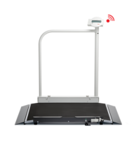 seca 677 - Wireless wheelchair scale with handrail and transport castors