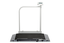 seca 677 r - Wireless wheelchair scale with handrail and transport castors